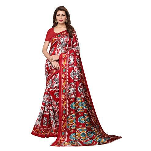 Fantastic Maroon Colored Casual Wear Printed Bhagalpuri Silk Saree