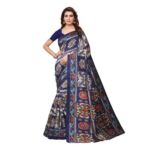 Amazing Navy Blue Colored Casual Wear Printed Bhagalpuri Silk Saree