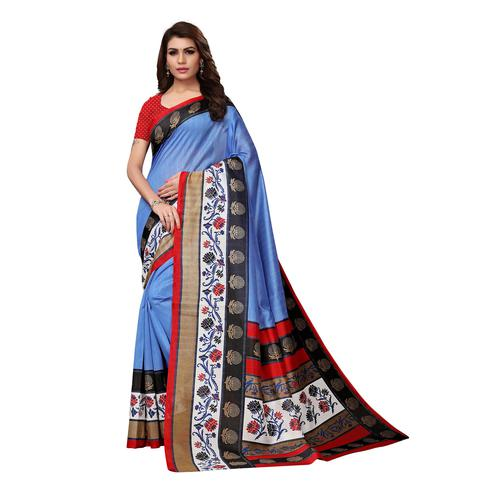 Blissful Sky Blue Colored Casual Wear Printed Bhagalpuri Silk Saree