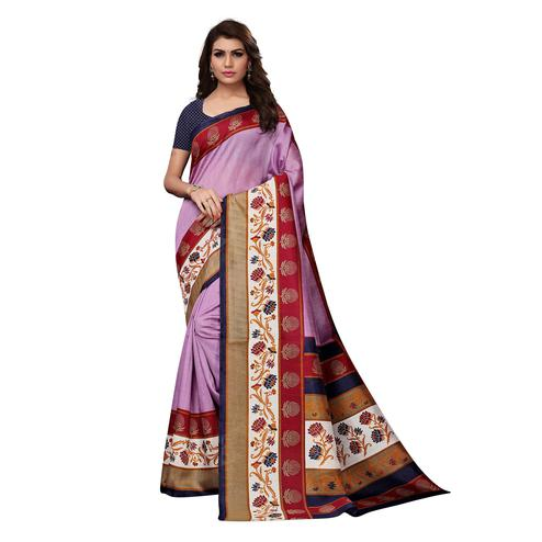 Ideal Purple Colored Casual Wear Printed Bhagalpuri Silk Saree
