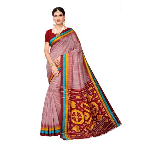 Imposing Maroon Colored Casual Wear Printed Bhagalpuri Silk Saree