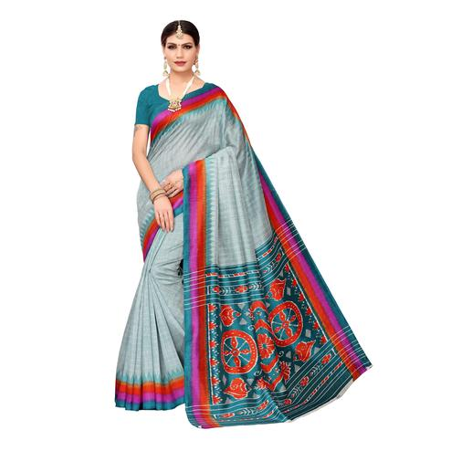 Lovely Teal Blue Colored Casual Wear Printed Bhagalpuri Silk Saree