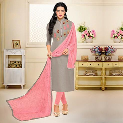 Grey - Pink Straight Cut Salwar Suit