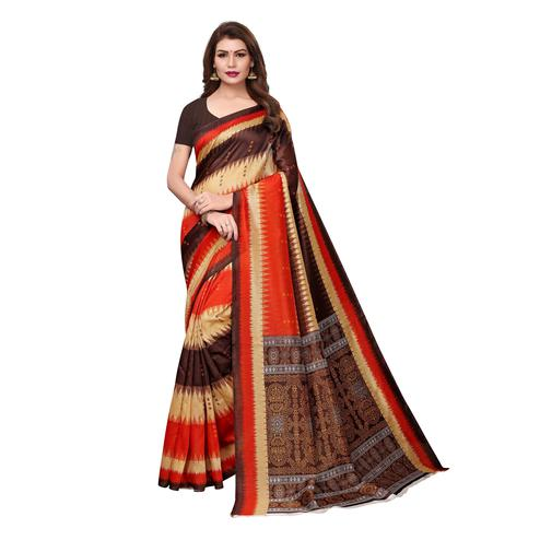 Majesty Multi Colored Casual Wear Printed Bhagalpuri Silk Saree