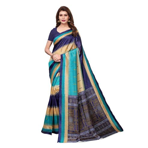 Impressive Multi Colored Casual Wear Printed Bhagalpuri Silk Saree