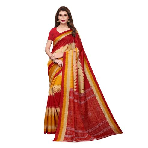 Mesmerising Multi Colored Casual Wear Printed Bhagalpuri Silk Saree