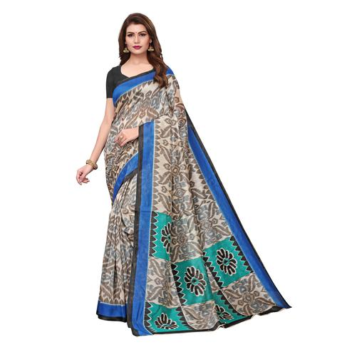 Ethnic Cream Colored Casual Wear Printed Bhagalpuri Silk Saree