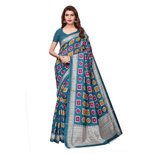 Stunning Teal Blue Colored Casual Wear Printed Bhagalpuri Silk Saree