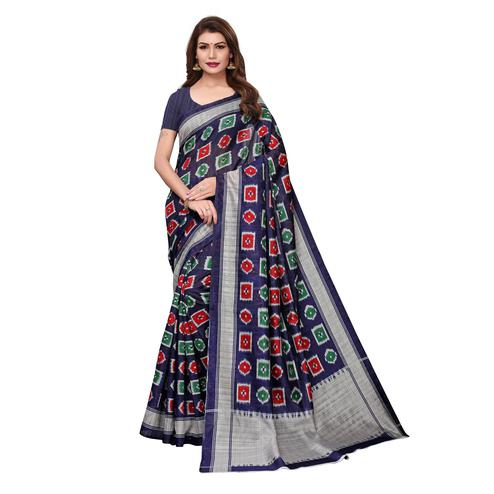 Flirty Navy Blue Colored Casual Wear Printed Bhagalpuri Silk Saree