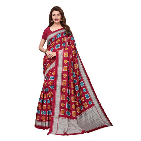 Lovely Maroon Colored Casual Wear Printed Bhagalpuri Silk Saree