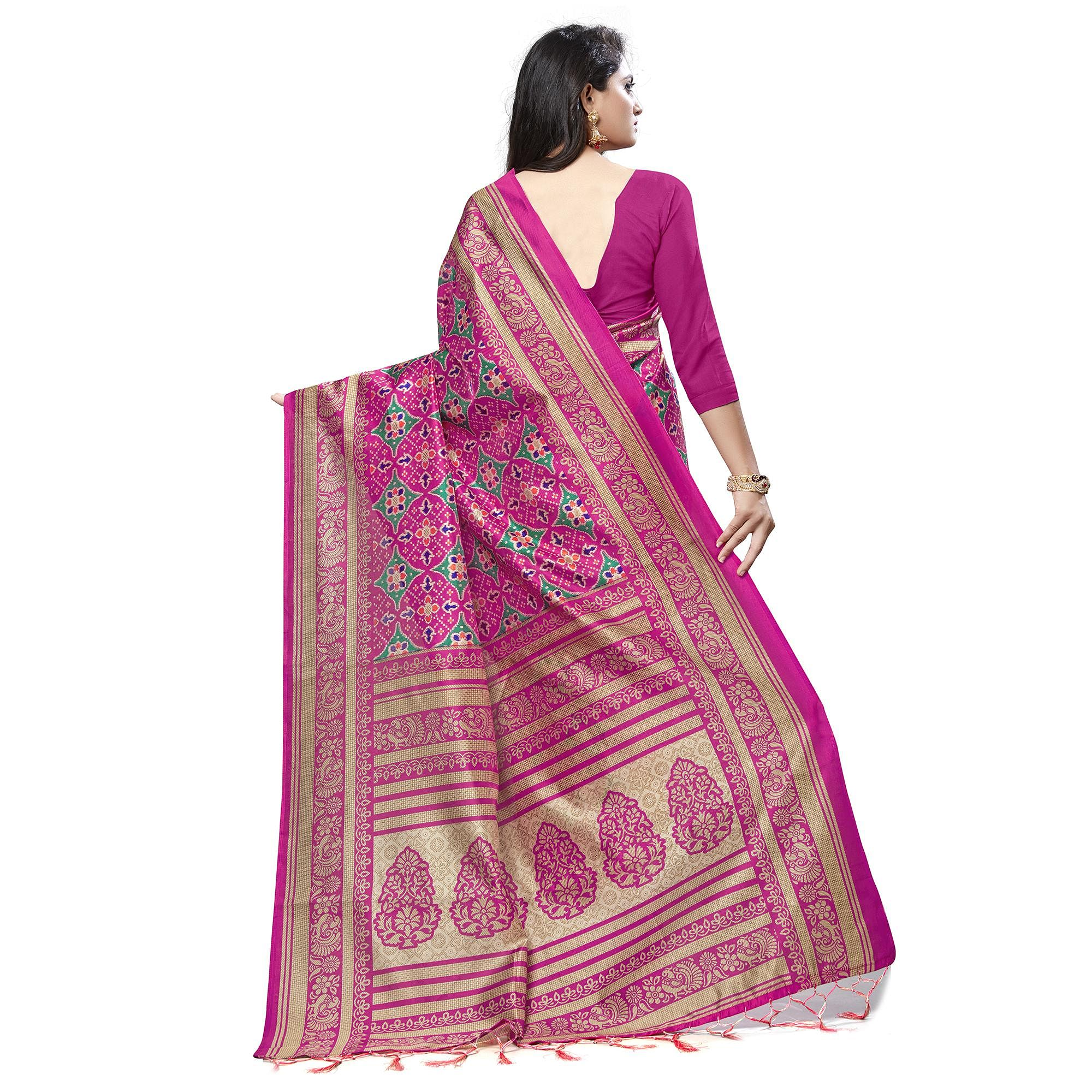 Adorning Pink Colored Casual Wear Printed Lichi Silk Saree