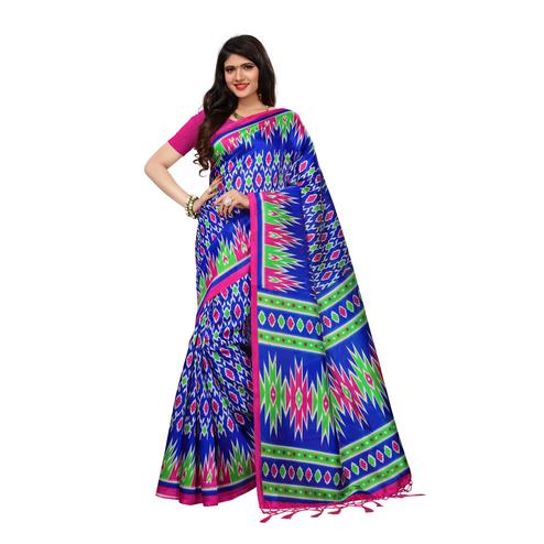 Gleaming Blue Colored Casual Wear Printed Art Silk Saree