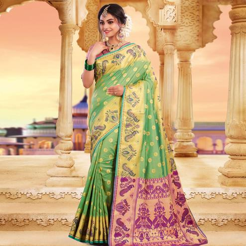 Prominent Green Colored Festive Wear Woven Silk Saree