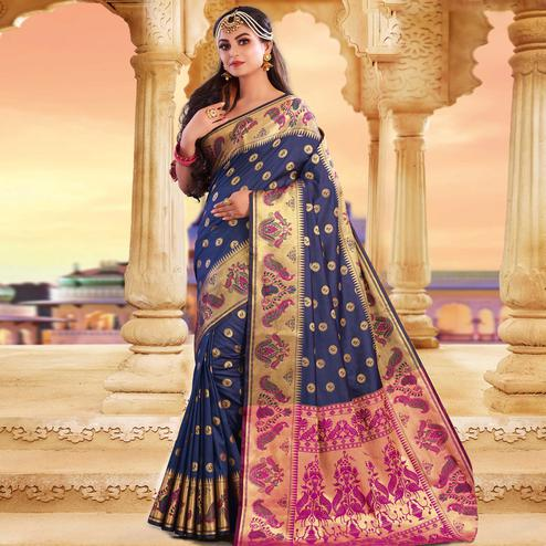 Capricious Navy Blue Colored Festive Wear Woven Silk Saree
