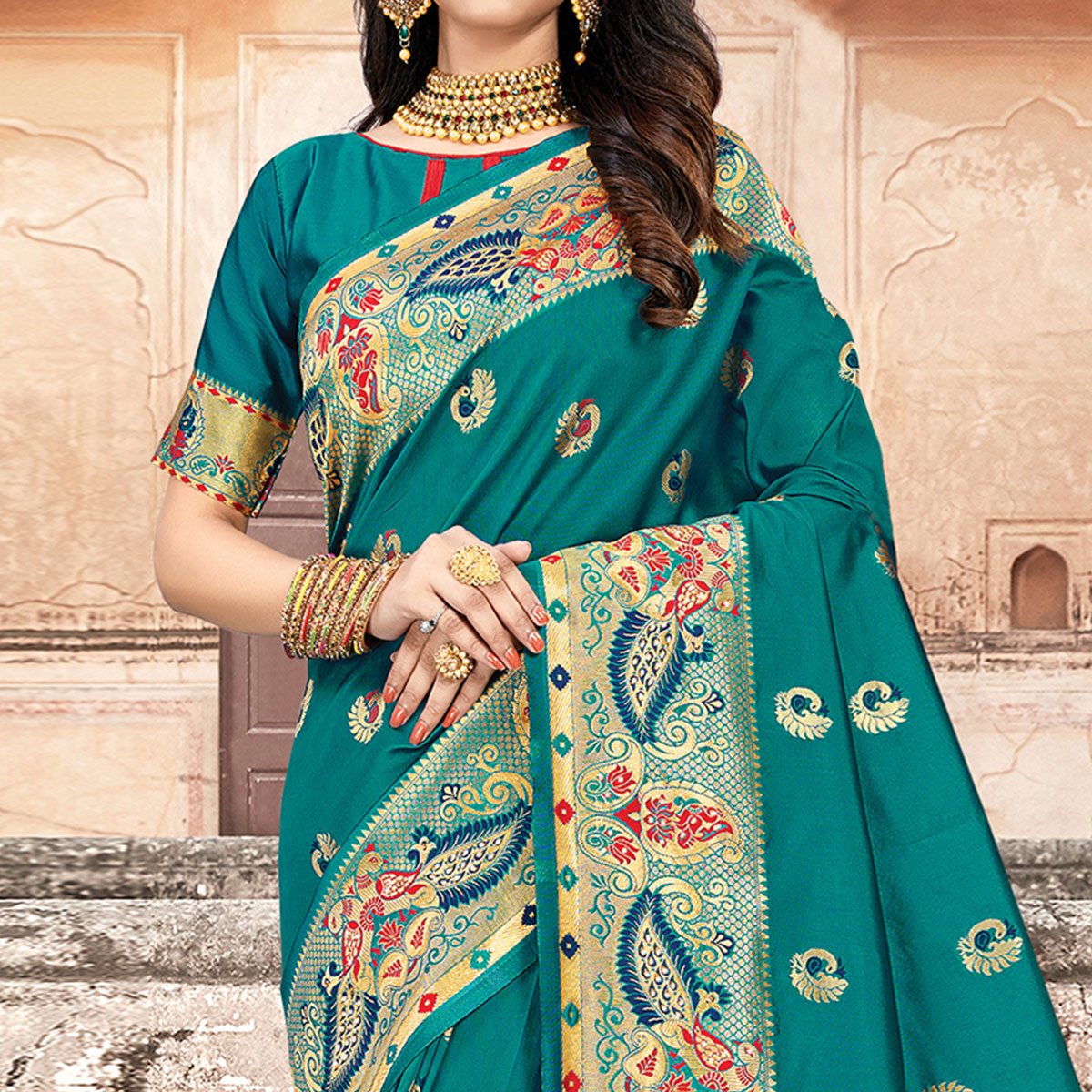 Desirable Turquoise Blue Colored Festive Wear Woven Silk Saree