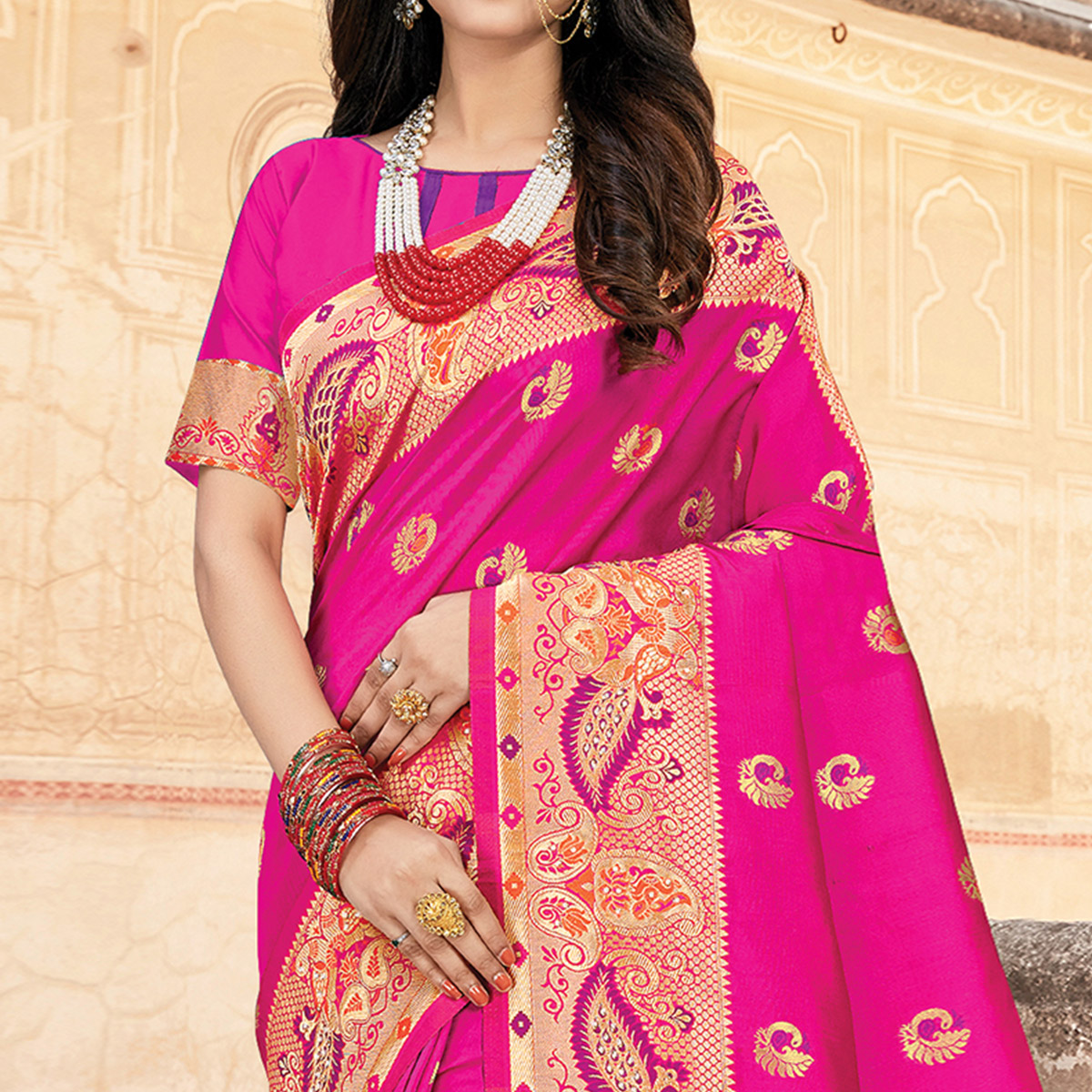 Radiant Pink Colored Festive Wear Woven Silk Saree