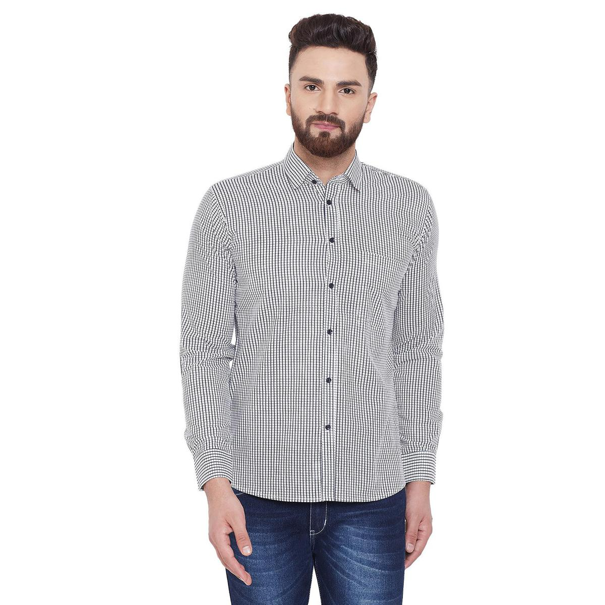 Fabnest - White Colored Casual Checks Printed Cotton Shirt