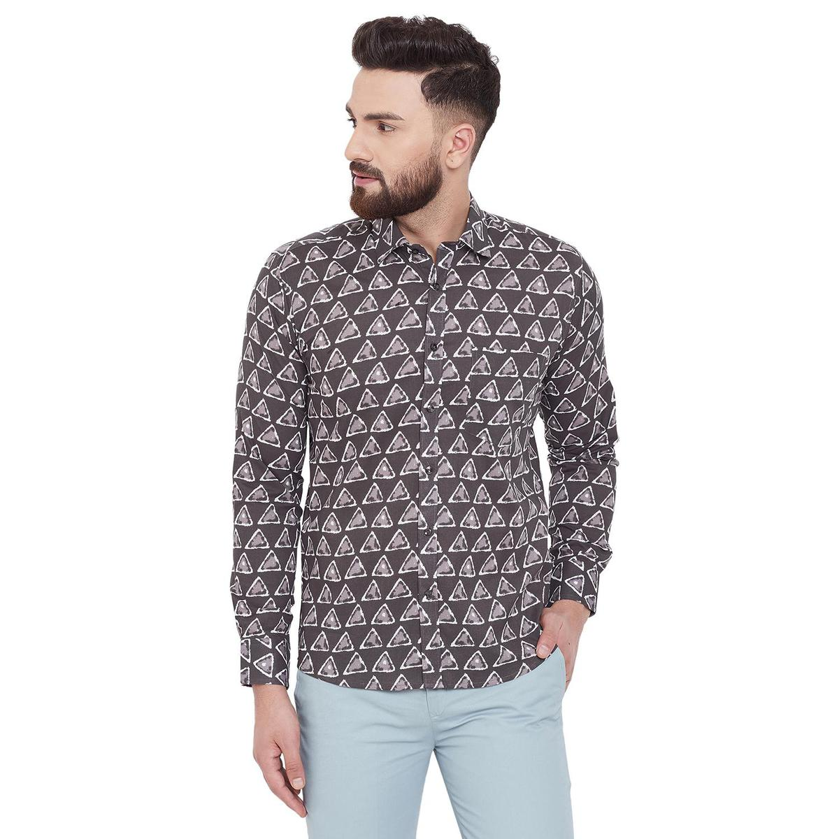 Fabnest - Grey Colored Casual Printed Cotton Shirt