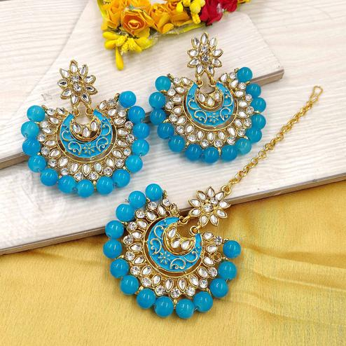 Zaffre Collections - Latest Round Blue Maang Tikka with Earrings Set for Women and Girls