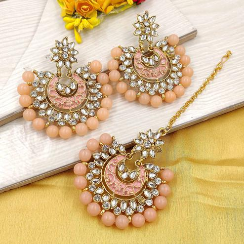 Zaffre Collections - Latest Round Peach Maang Tikka with Earrings Set for Women and Girls