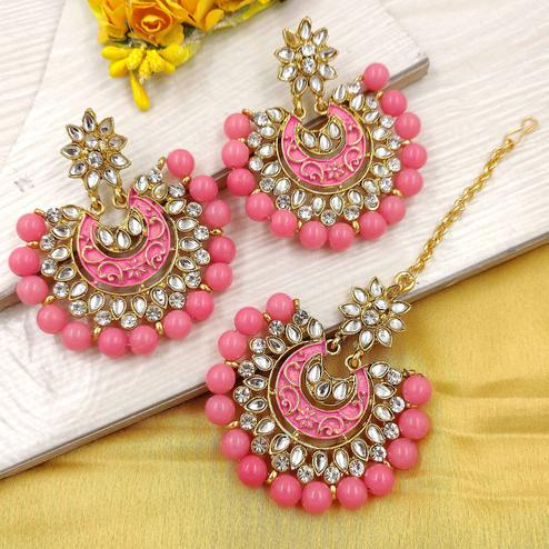 Zaffre Collections - Latest Round Pink Maang Tikka with Earrings Set for Women and Girls