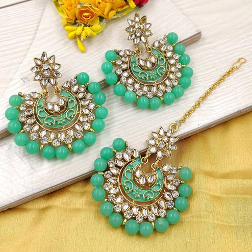 Zaffre Collections - Latest Round Sea Green Maang Tikka with Earrings Set for Women and Girls