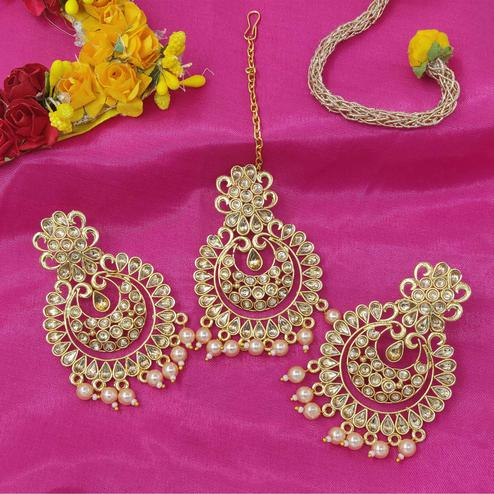 Zaffre Collections - Polki Cut Gold Maang Tikka with Earrings Set for Women and Girls