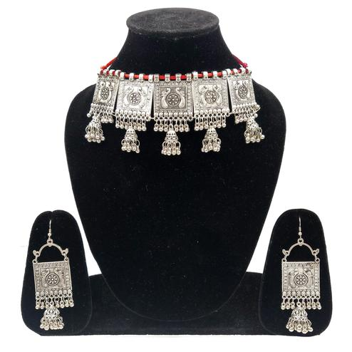 Zaffre Collections - Trendy Oxidised Silver Choker with Dangle Jhumki Earrings for Women and Girls