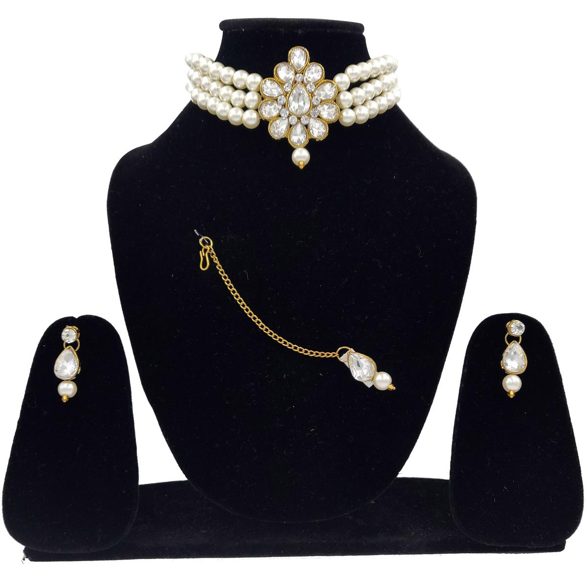Zaffre Collections - Beautiful Pendant and Pearl Choker with Earrings and Maang tikka for Women and Girls