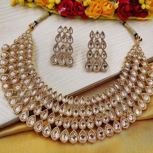 Zaffre Collections - Polki Diamond Gold Choker with Earrings for Women and Girls