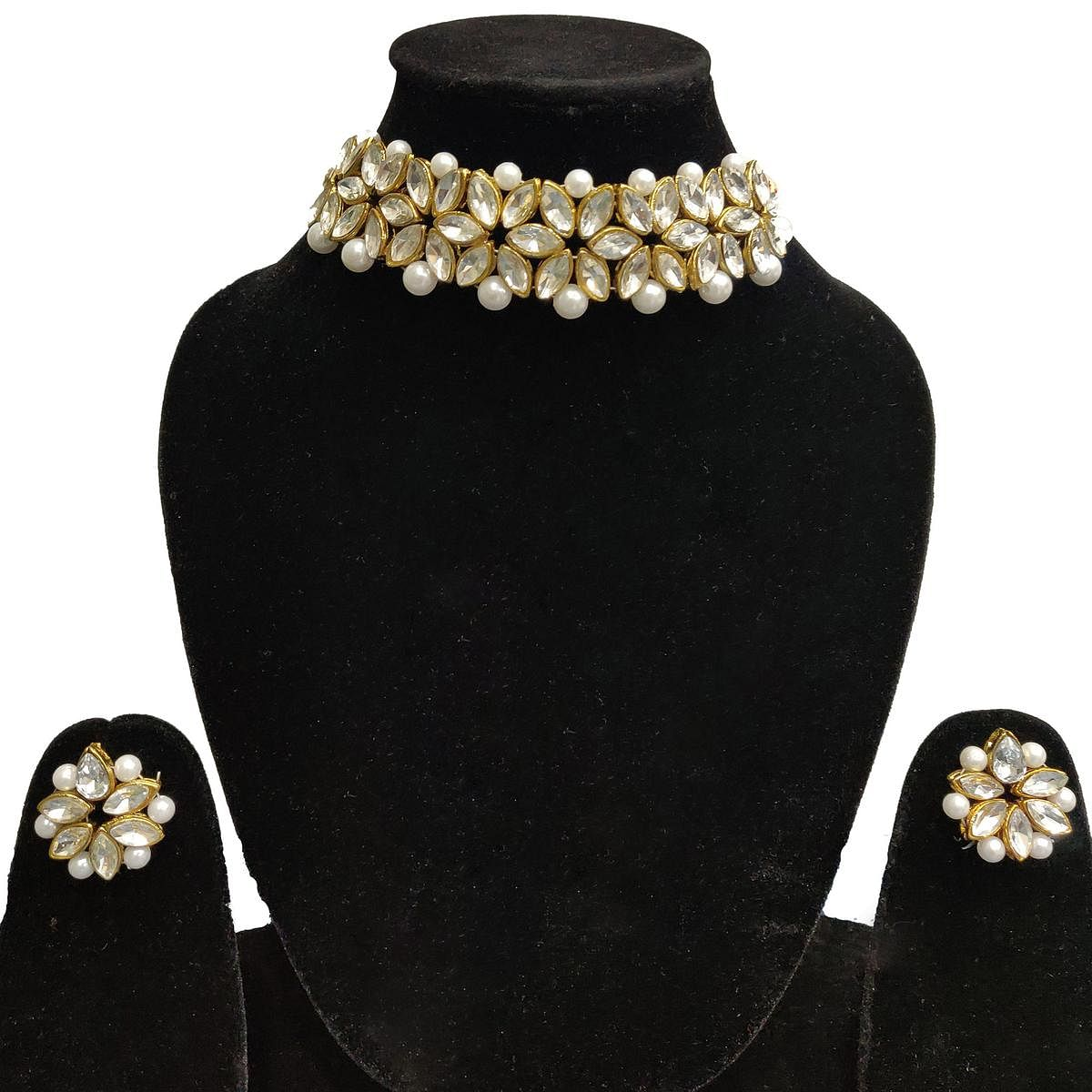 Zaffre Collections - White Crystal Choker with Earrings for Women