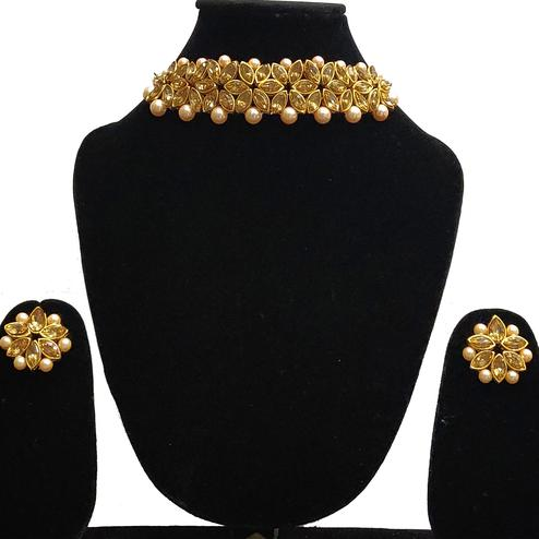Zaffre Collections - Gold Crystal Choker with Earrings for Women