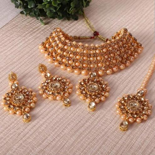 Zaffre Collections - Gold Crystal and Pearl Choker set with earring and Maang tikka for Women