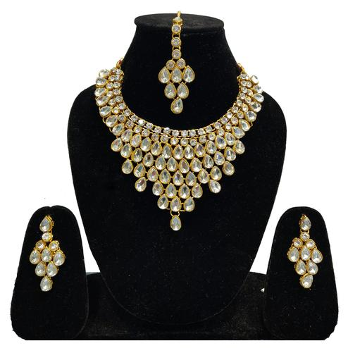 Zaffre Collections - Beautiful White Crystal Necklace Set with Maang Tikka for Women and Girls