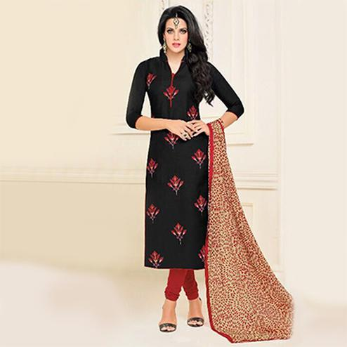 Black Chanderi Casual Wear Salwar Suit