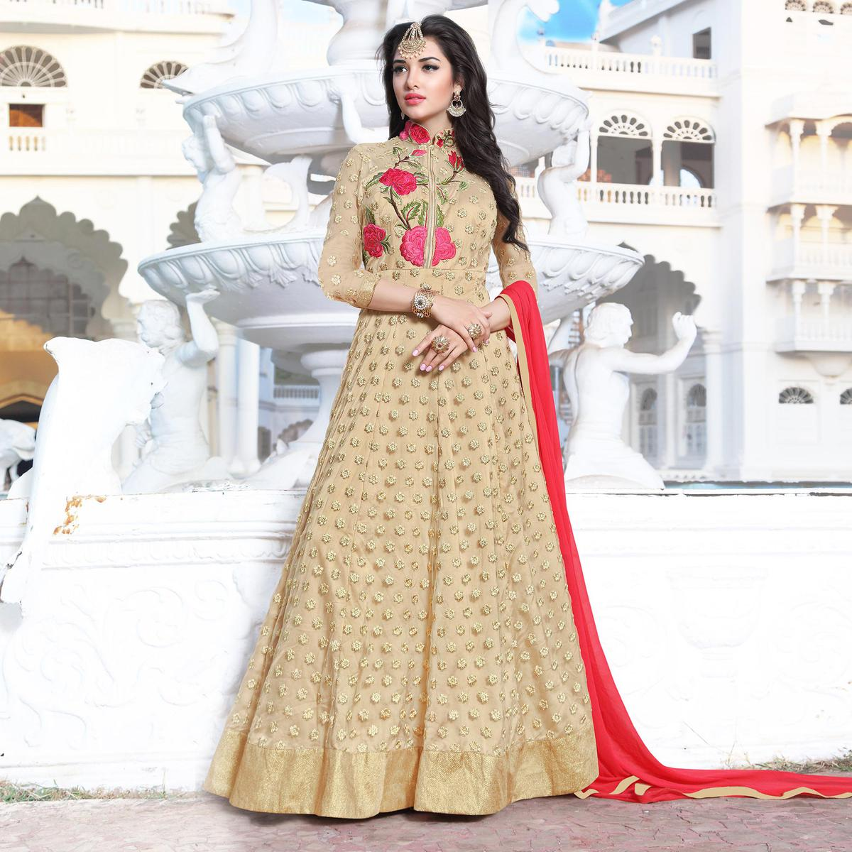 Beige Floral Embroidered Work Net Anarkali Suit