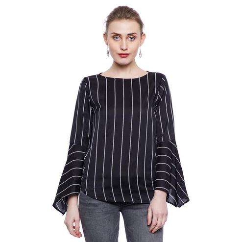 Aask - Black Colored Casual Wear Striped Printed Crepe Top