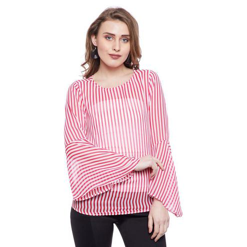 Aask - Pink Colored Casual Wear Striped Printed Georgette Top