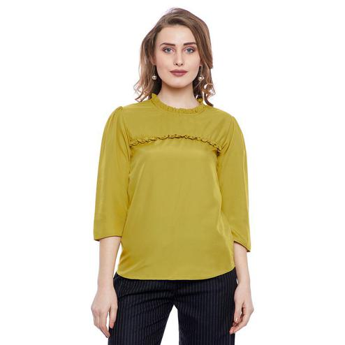 Aask - Olive Colored Casual Wear Plain Crepe Top