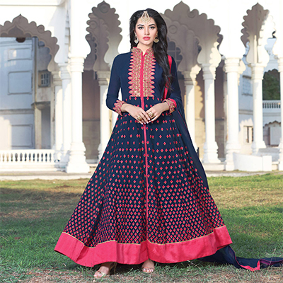 Navy Blue Party Wear Embroidered Work Anarkali Suit