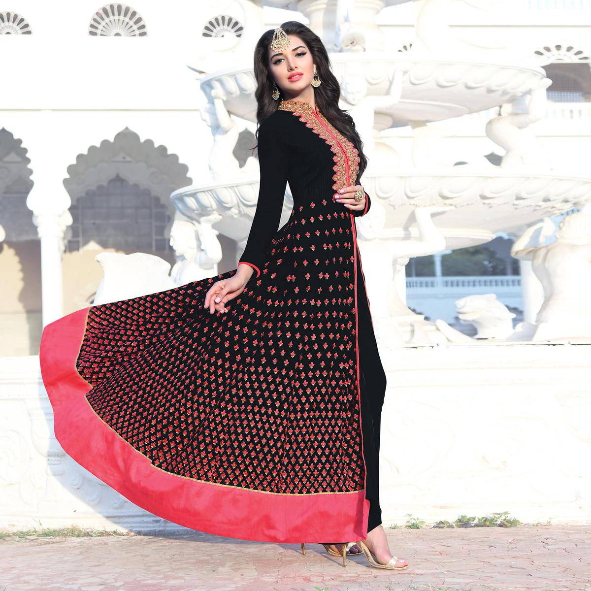 Black Party Wear Embroidered Work Anarkali Suit