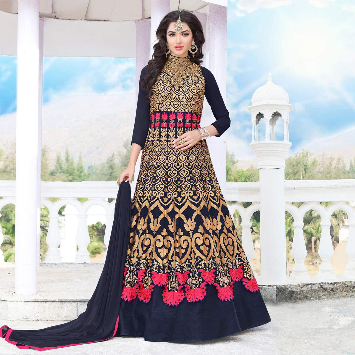 Navy Blue Floor Length Georgette Anarkali Suit