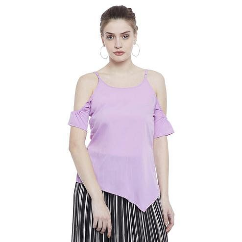 Aask - Purple Colored Casual Wear Cold Shoulder Sleeve Crepe Top