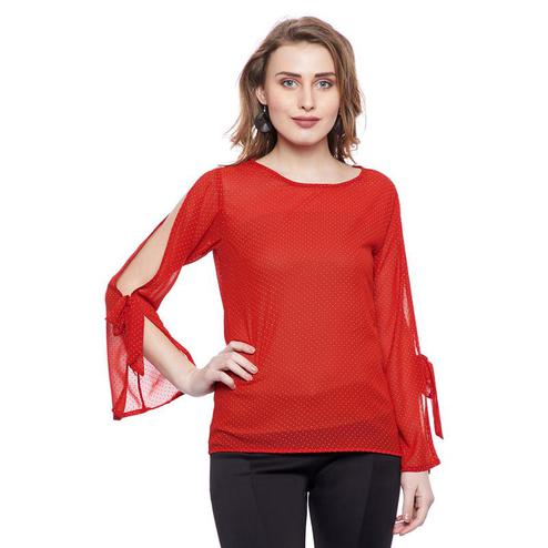 Aask - Red Colored Casual Wear Dot Printed Georgette Top