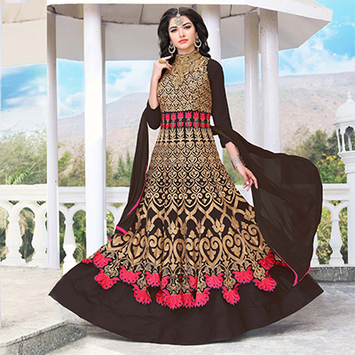 Brown Color Floor Length Georgette Anarkali Suit