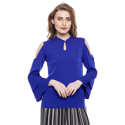 Aask - Blue Colored Casual Wear Plain Key Hole Neck Crepe Top