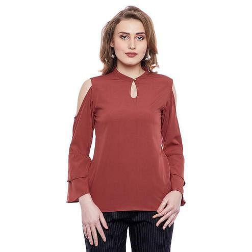 Aask - Brown Colored Casual Wear Plain Key Hole Neck Crepe Top