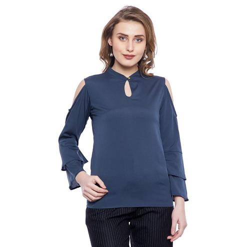 Aask - Grey Colored Casual Wear Plain Key Hole Neck Crepe Top