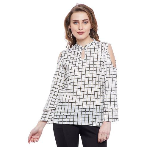 Aask - White Colored Casual Wear Checked Printed Key Hole Neck Crepe Top