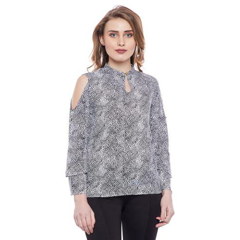 Aask - White And Black Colored Casual Wear Printed Key Hole Neck Crepe Top